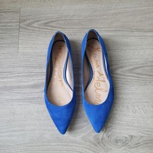 Sam Edelman Rae Blue Suede Pointed Toe Flats